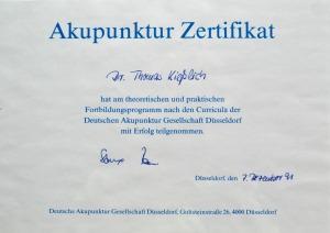 Akupunktur Zertifikat